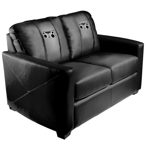 Silver Loveseat with Boombox Logo