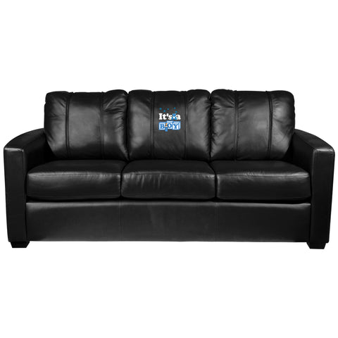 Silver Sofa with It's A Boy Logo