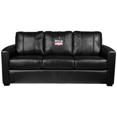 Silver Sofa with It's A Girl Logo