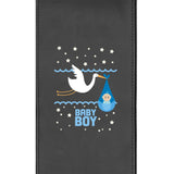 Silver Club Chair with Baby Boy Stork Logo
