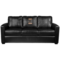 Silver Sofa with Ski No Guts No Glory Logo Panel