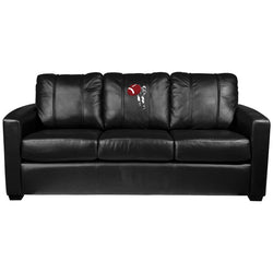 Silver Sofa with Football Quarterback Throw Logo Panel