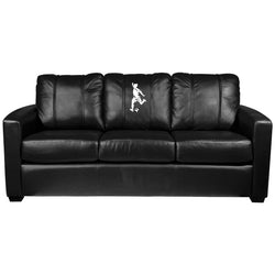 Silver Sofa with Soccer Logo Panel