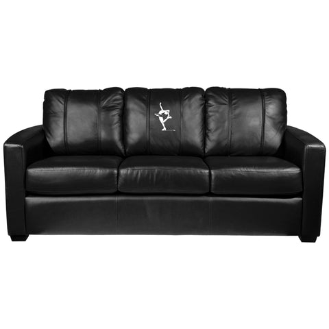 Silver Sofa with Figure Skater Catch Foot Logo Panel