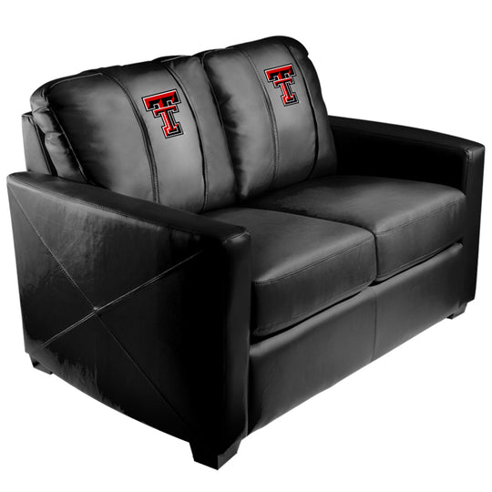 Silver Loveseat with Texas Tech Red Raiders Logo