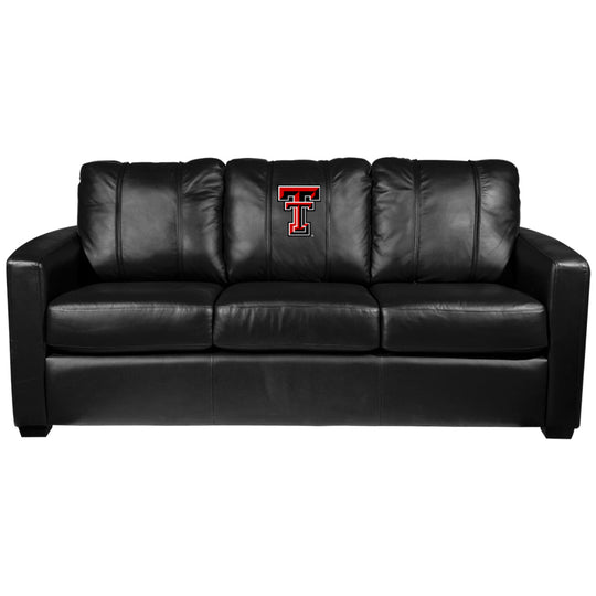 Silver Sofa with Texas Tech Red Raiders Logo