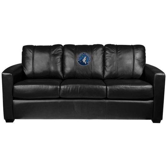 Silver Sofa with Minnesota Timberwolves Primary Logo