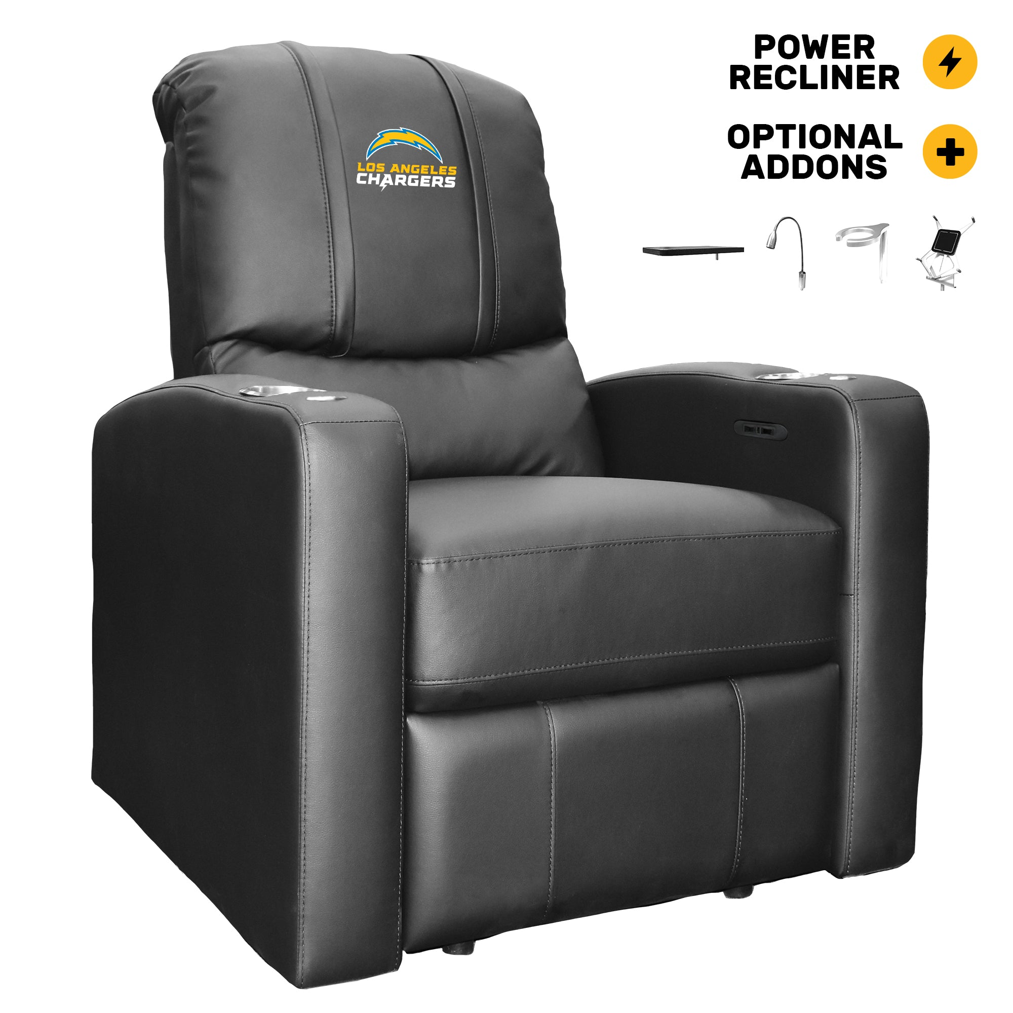 Stealth Power Plus Recliner with Los Angeles Chargers Secondary Logo