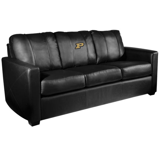 Silver Sofa with Purdue Boilermakers Logo