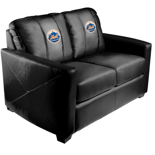 Silver Loveseat with New York Mets Logo
