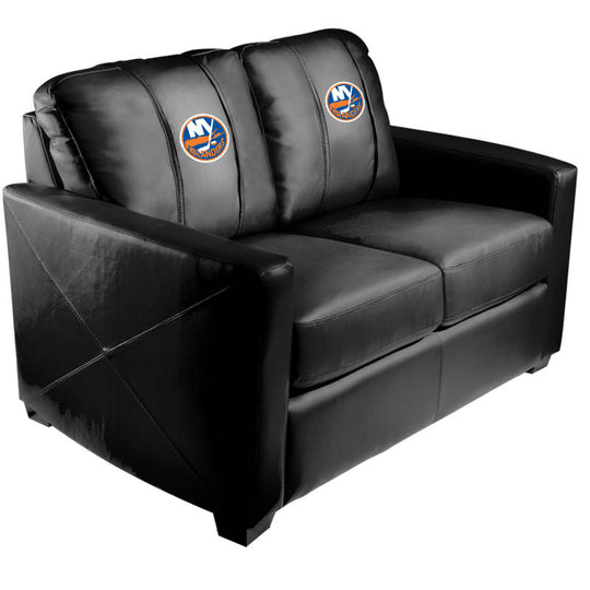 Silver Loveseat with New York Islanders Logo