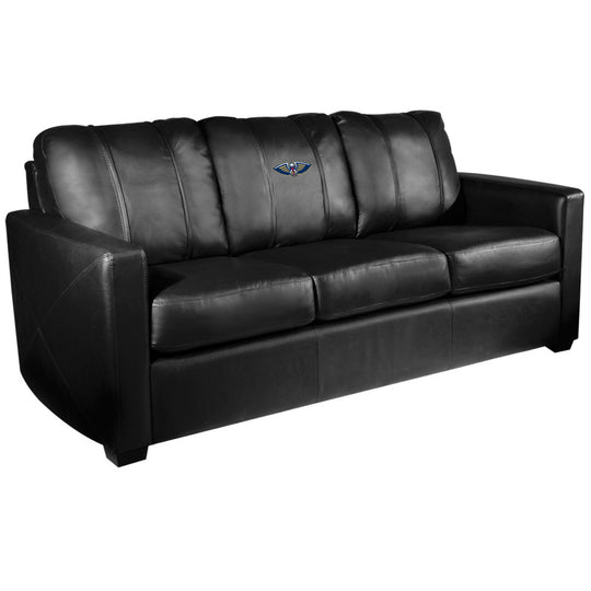 Silver Sofa with New Orleans Pelicans Primary Logo