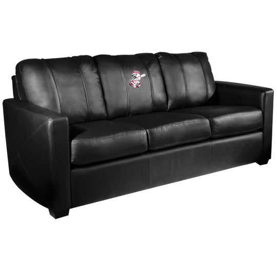 Silver Sofa with Cincinnati Reds Secondary