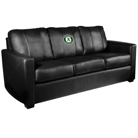 Silver Sofa with Oakland Athletics Logo