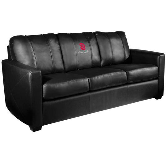 Silver Sofa with South Dakota Coyotes Logo
