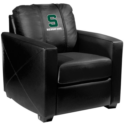 Silver Club Chair with Michigan State Secondary Logo