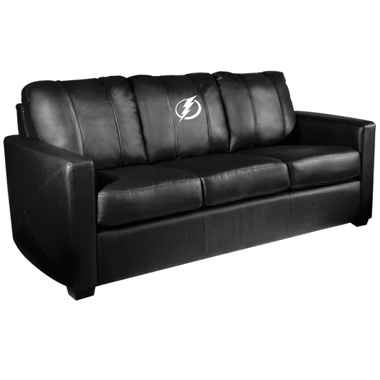 Silver Sofa with Tampa Bay Lightning Logo
