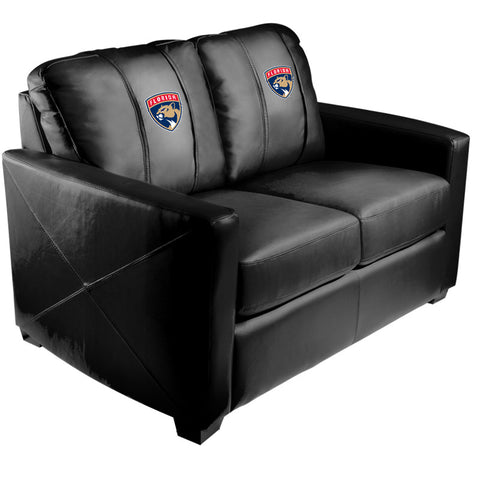 Silver Loveseat with Florida Panthers Logo