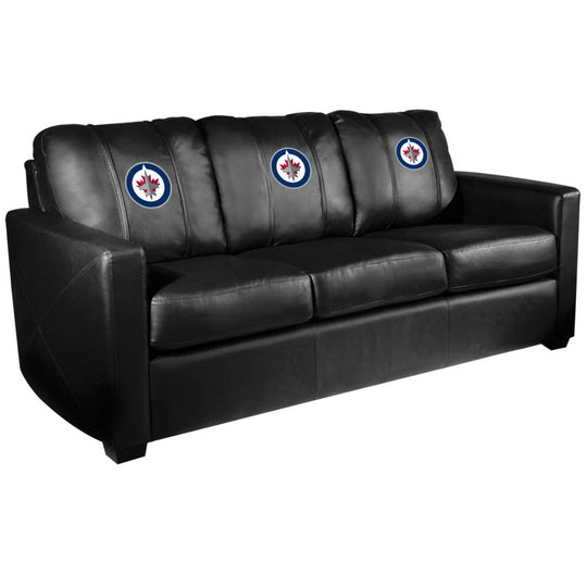 Silver Sofa with Winnipeg Jets Logo
