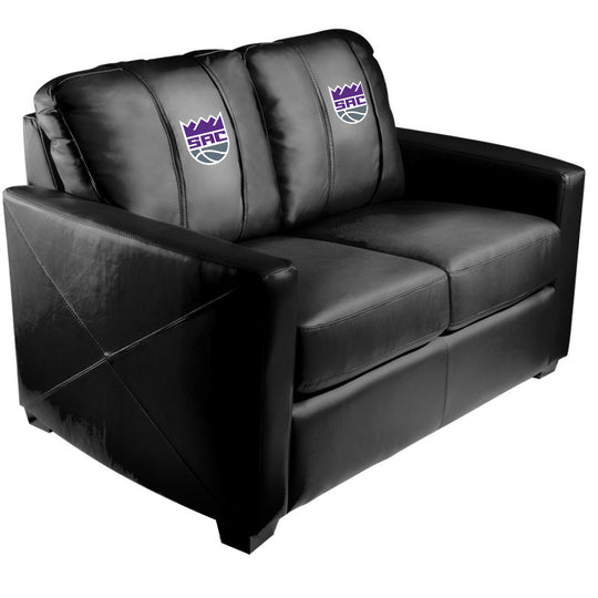 Silver Loveseat with Sacramento Kings Secondary Logo