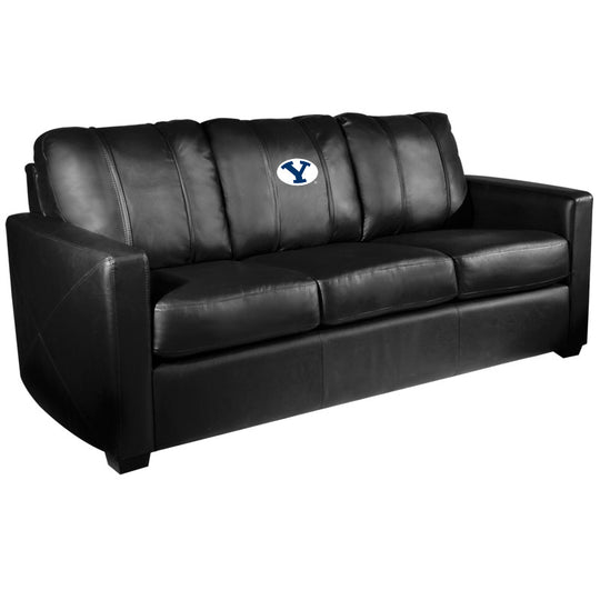 Silver Sofa with BYU Cougars Logo