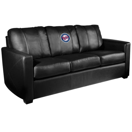 Silver Sofa with Minnesota Twins Logo
