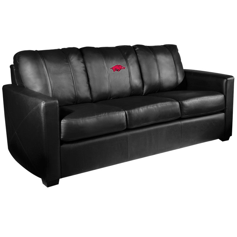 Silver Sofa with Arkansas Razorbacks Logo