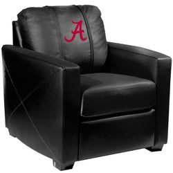 Silver Club Chair with Alabama Crimson Tide Red A Logo