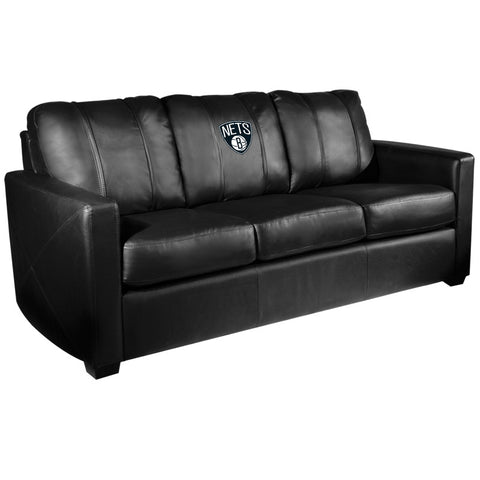 Silver Sofa With Brooklyn Nets Logo