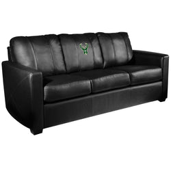 Silver Sofa with Milwaukee Bucks Logo