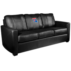 Silver Sofa with Louisiana Tech Bulldogs Logo