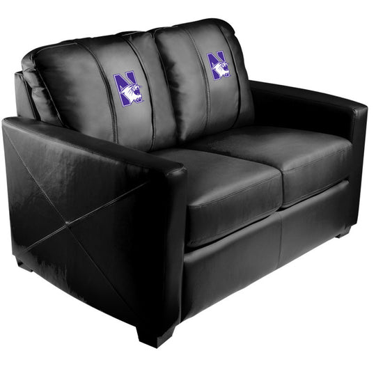 Silver Loveseat with Northwestern Wildcats Logo
