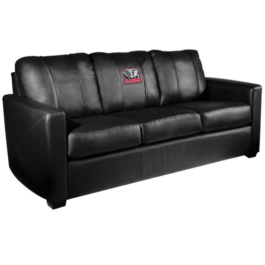 Silver Sofa with Alabama Crimson Tide Elephant Logo