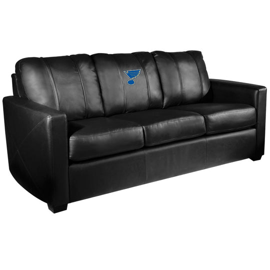 Silver Sofa with St. Louis Blues Logo