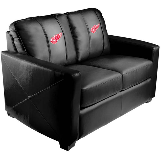 Silver Loveseat with Detroit Red Wings Logo