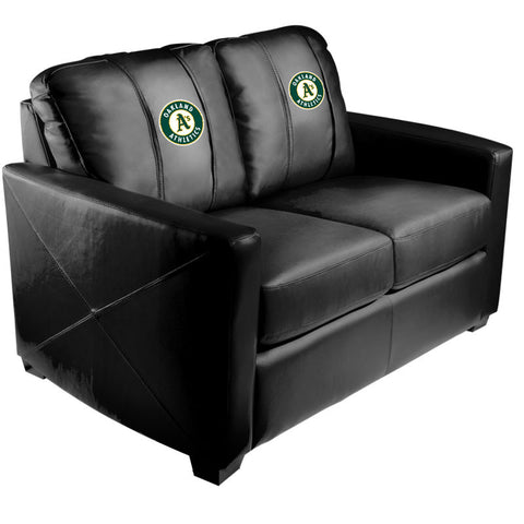Silver Loveseat with Oakland Athletics Logo