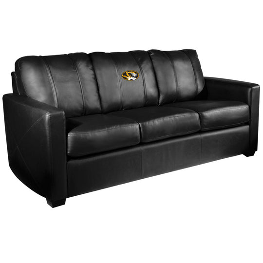 Silver Sofa with Missouri Tigers Logo