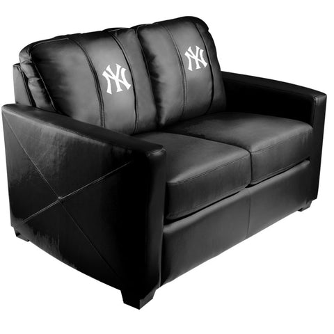 Silver Loveseat with New York Yankees Logo