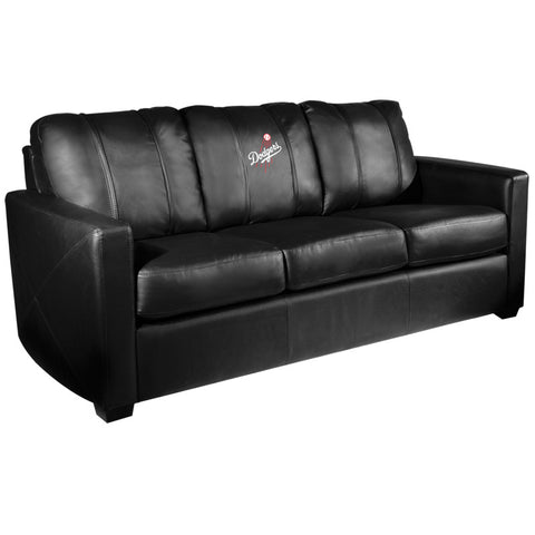 Silver Sofa with Los Angeles Dodgers Logo