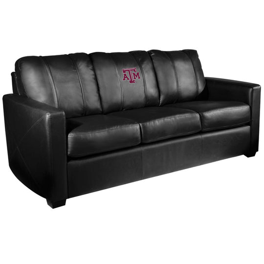 Silver Sofa with Texas A and M Aggies Logo