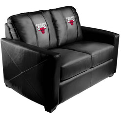 Silver Loveseat with Chicago Bulls Logo