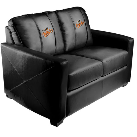 Silver Loveseat with Baltimore Orioles Logo