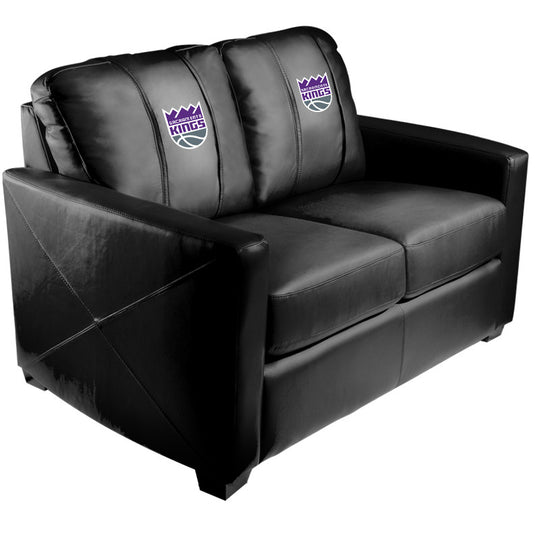 Silver Loveseat with Sacramento Kings Primary Logo