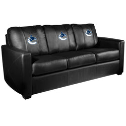 Silver Sofa with Vancouver Canucks Logo