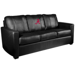 Silver Sofa with Alabama Crimson Tide Red A Logo