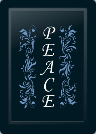 Peace Floral Vertical Blue
