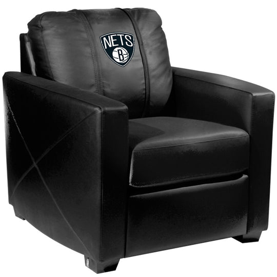 Silver Club Chair with Brooklyn Nets Logo