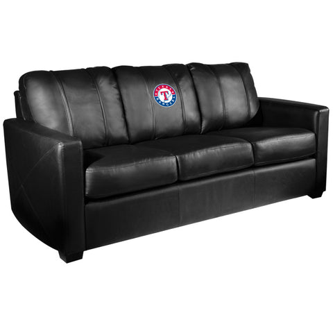 Silver Sofa with Texas Rangers Logo