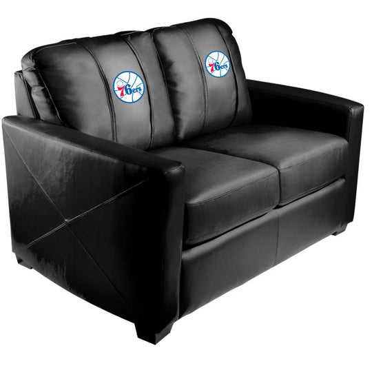 Silver Loveseat with Philadelphia 76ers Primary