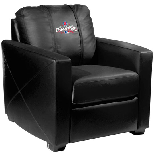 Silver Club Chair with 2016 Chicago Cubs World Series Logo